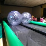 Race down the track in the giant hamster balls!